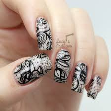 racy lacy nails black stamped lace nail art u0026 barry m do it like