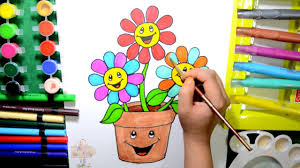 Color And Paint How To Draw Color And Paint Flower Pot Coloring Page For Kids To