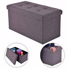 goplus 76x38x38cm storage ottoman modern folding rect stool box