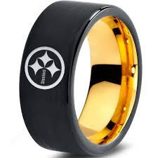 pittsburgh wedding bands pittsburgh steelers ring wedding band nfl football black 18k gold