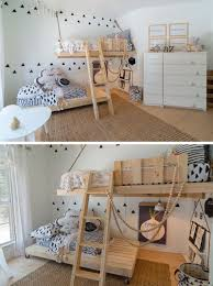 this gender neutral kids room features bright white walls
