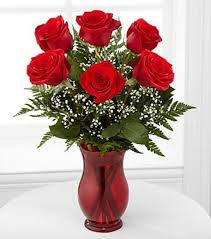 valentines day roses classic s day bouquet 6 stems vase