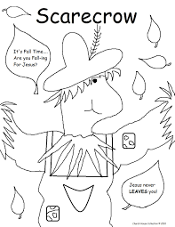 scarecrow coloring pages fall prayer sunday lesson