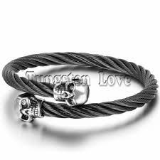 skull bangle bracelet images Fashion cool mens skull bangle bracelet stainless steel twisted jpg