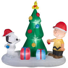 peanuts airblown inflatables peanuts brown snoopy tree christmas airblown