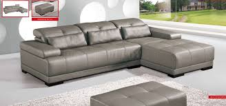 real leather sectional sofa grey genuine leather sectional sofa w adjustable headrests