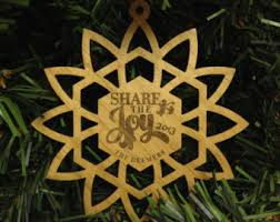 wooden snowflake ornaments laser engraved second set of 6