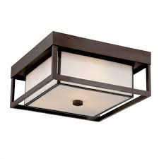 Outdoor Porch Ceiling Light Fixtures by Three Light Western Bronze White Square Glass Outdoor Flush Mount