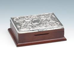 silver boxes with bows on top a wooden trinket box with sterling silver repousse top 03 27 14