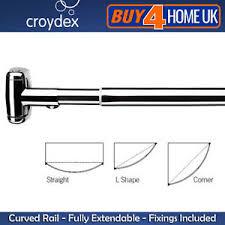 Chrome Curved Shower Curtain Rod Croydex Premium Telescopic Curved Shower Curtain Rail Extendable