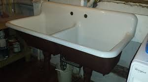Vintage American Standard Double Basin Porcelain Over Cast - American standard cast iron kitchen sinks
