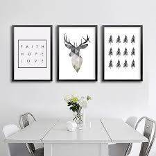 living room prints geometric deer faith quote canvas painting nordic poster wall art