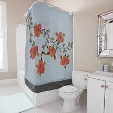 Peach Floral Curtains Black And Peach Shower Curtains Zazzle
