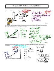 worksheet 7solution worksheet 2 7 accelerated motion 1