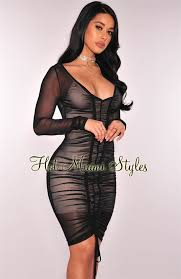 black sheer mesh illusion ruched dress