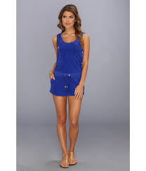 terry cloth jumpsuit lyst couture micro terry hoodie romper in blue
