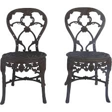 Iron Patio Furniture Phoenix by Pair Of English Cast Iron Garden Chairs By Phoenix Foundry Derby