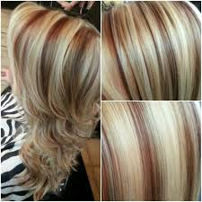 caramel lowlights in blonde hair and red highlights a platinum blonde highlight with red lowlights