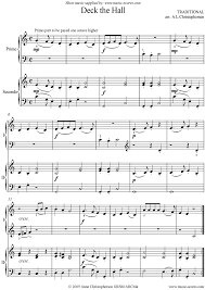 deck the with boughs of piano duet sheet by