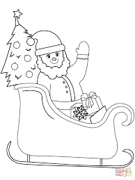 santa on sleigh coloring page free printable coloring pages