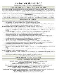 Volunteering Resume Sample by Clinical Dietitian Resume Example Nutritionist Research Assistant