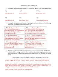 Calculating Molar Mass Worksheet 115 Intermolecular Force Worksheet Key 1 Chemical Polarity