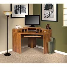 amazon com leick corner computer and writing desk chocolate oak