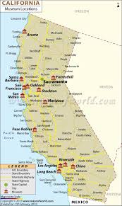 Map Of The Coast Of California List Of Museums In California California Museums Map