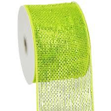 4 poly deco mesh ribbon metallic apple green lime rs200571