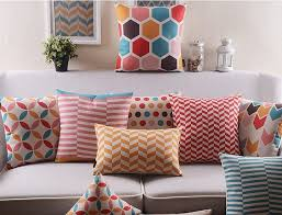 Modern Cushions For Sofas Colorful Abstract Geometric Shapes Pillow Cover Modern Pillows