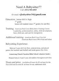 Resume Sample For Nanny Position by Babysitter Cover Letter No Experience Sample Babysitting Cover