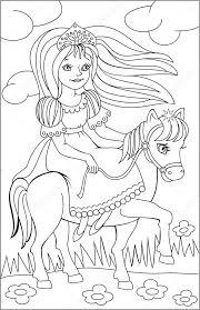black white drawing riding princess coloring