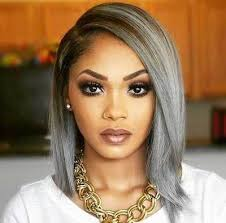 gray hair pieces for american grey hair silver hair straight bob wigs for black women lace front