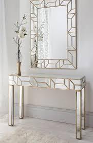 Geometria Gold Mirrored Console Table Mirror Set Shropshire Design