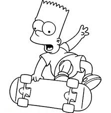 bart play skateboard in the simpsons coloring page coloring sun