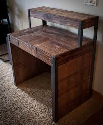 Diy Metal Desk Repurposed Pallet Wood Desk Tiered With Metal Legs Pallet Desk