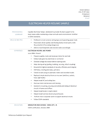 resume for electrician resume for your job application