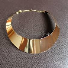 jewelry necklace choker collar images Discount hot 18kgp lady gold curved metal choker collar bib torque jpg