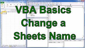 excel vba change sheet name youtube