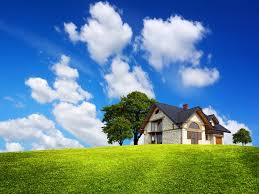 field green grass house tree house clouds sky hd wallpaper