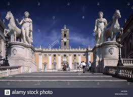 cosmopolitan city italy rome capitol rising statues dioskuren castor pollux