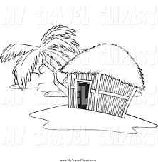 clipart of a black and white tropical hut on an island by toonaday