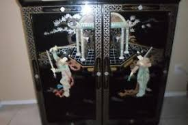 Lacquer Bar Cabinet Asian Oriental Japanese Chinese Black Lacquer Liquor Wine Bar