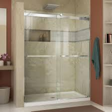 Frameless Bathroom Doors Dreamline Essence 44 In To 48 In X 76 In Semi Frameless Sliding