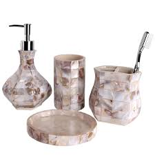 Beach Bathroom Accessories by Creative Scents Milano Bath Ensemble 4 Piece Bathroom Accessories