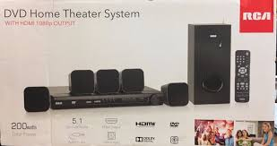 dvd home theater system rca dvd home theater system w hdmi 1080p output 200 watts 5 1