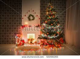 beautiful living room decorated christmas view stock photo
