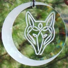 etched celtic wolf with moon glass ornament suncatcher celtic