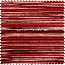 Textured Chenille Upholstery Fabric Red Multicolour Pencil Striped Pattern Soft Textured Chenille
