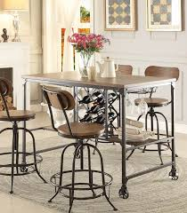 Dining Room Table With Wine Rack 5429 36 Modern Industrial Metal Counter Height Dining Table Wine